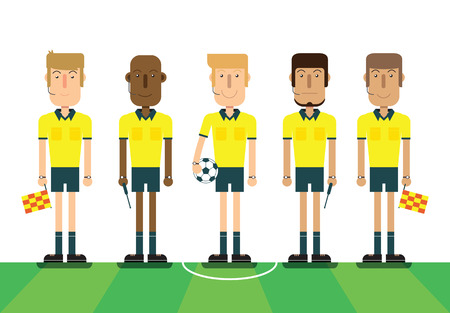 Soccer referees, football referees on white background. Flat design people characters. vector illustration. Illustration