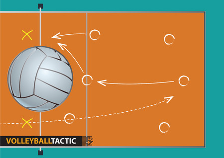 Showing a volleyball court with arrows representing a game plan. vector illustration.