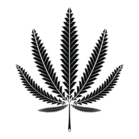 Vector cannabis (marijuana) leaf silhouette on white background. Illustration