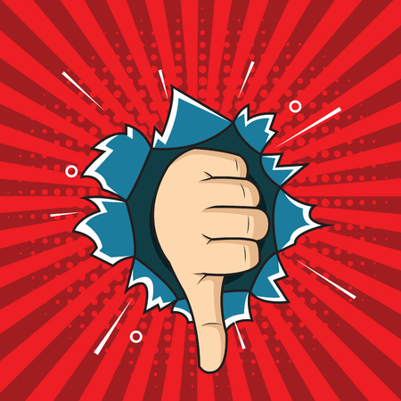 Pop art thumbs down hand sign, bad sign comic style illustration. hand through the hole in paper.
