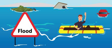 People need help of flood disaster concept illustration