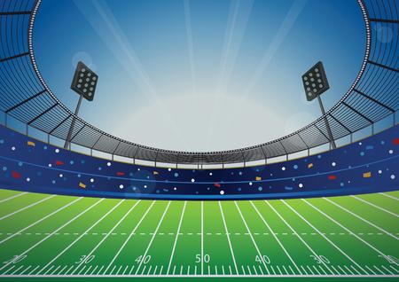 American Football field with bright stadium. vector illustration.