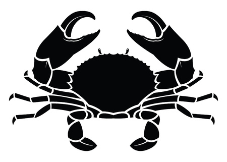 Crab sea animal silhouette. Cancer Zodiac Vector illustration. Logo, graphics, seafood. Marine reptile. Vettoriali