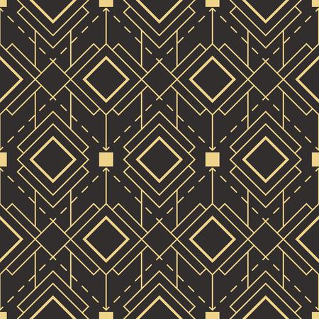 ベクトルのモダンなタイル パターンです。抽象的なアールデコのシームレスなモノクロ背景