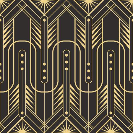 Vector modern tiles pattern. Abstract art deco seamless monochrome background Illustration