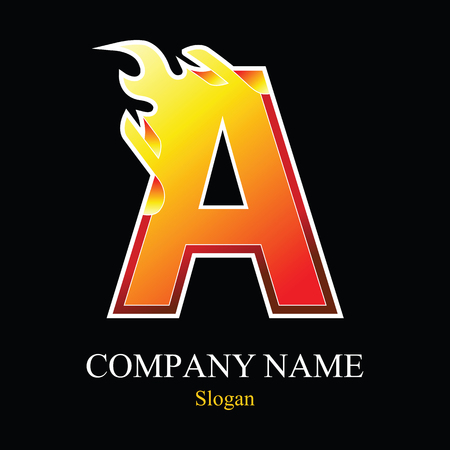 burning: A letter fire logo design template. Vector design template elements for your application or company.