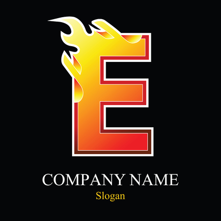 burning: E letter fire logo design template. Vector design template elements for your application or company. Illustration