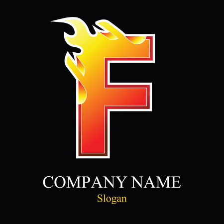 F letter fire logo design template. Vector design template elements for your application or company.
