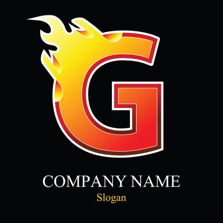 Plantilla de diseño de logo de letra G fuego. Elementos de plantilla de diseño de vector para su aplicación o empresa. Foto de archivo - 80915662