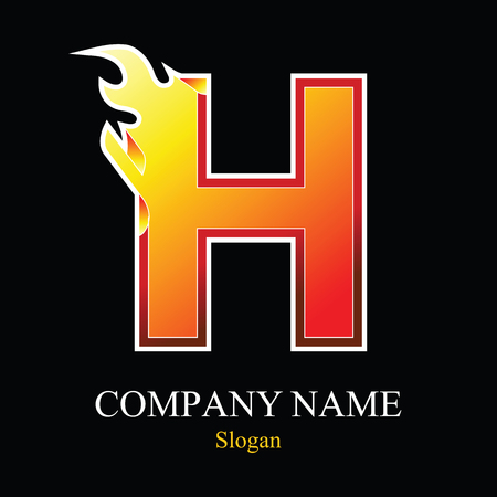 burning: H letter fire logo design template. Vector design template elements for your application or company.