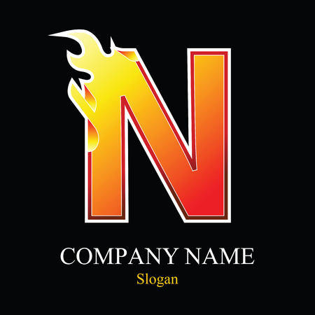 N letter fire logo design template. Vector design template elements for your application or company.
