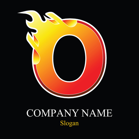 O letter fire logo design template. Vector design template elements for your application or company.
