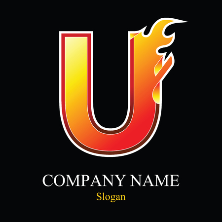 U letter fire logo design template. Vector design template elements for your application or company. Иллюстрация