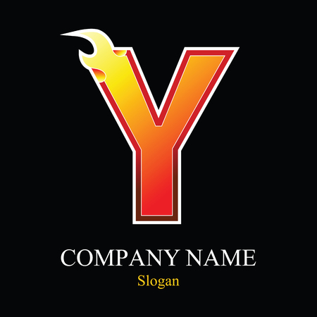 burning: Y letter fire logo design template. Vector design template elements for your application or company.