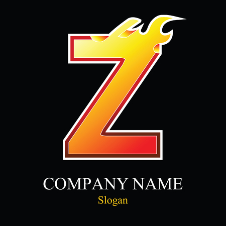 burning: Z letter fire logo design template. Vector design template elements for your application or company.