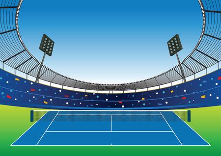 Tennis court with bright stadium. vector illustration.