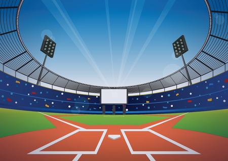 Campo di baseball con stadio luminoso. illustrazione vettoriale.
