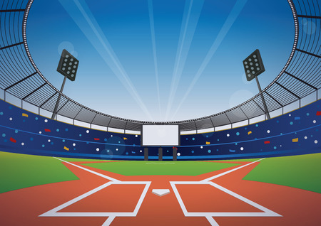 Baseball field with bright stadium. vector illustration.
