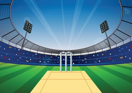 Cricket field with bright stadium. vector illustration. Stock Illustratie