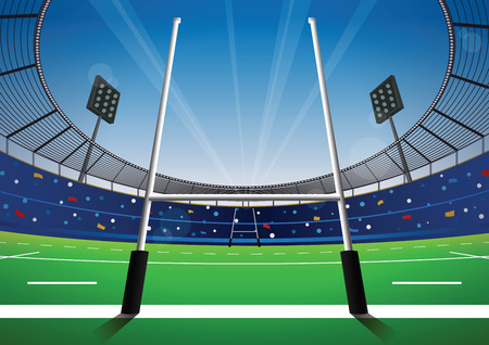 Rugby field with bright stadium. vector illustration. Illustration