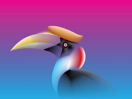 Hornbill Bird lines color fade Style. Ilustración vectorial