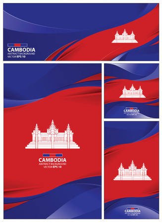 Cambodia flag abstract colors background. Collection banner design. brochure vector illustration.