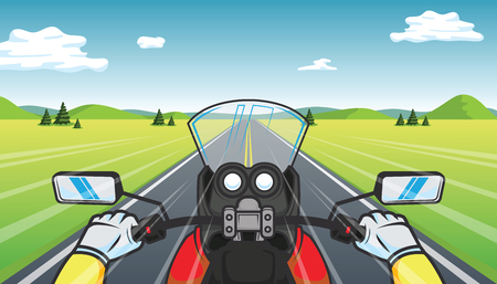 Biker rides a motorcycle on mountain. rearview cartoon vector illustration.