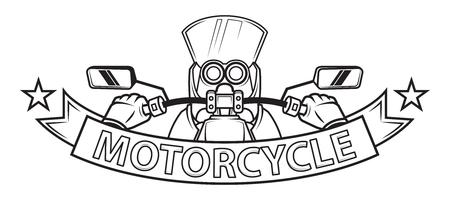 Motorcycle ribbon emblem. logo vector illustration. Çizim