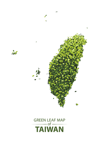 Green leaf map of taiwan. Vector illustration