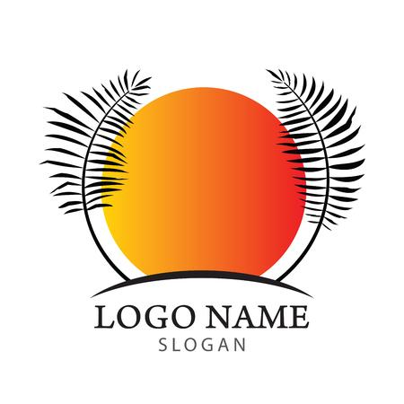 Palm tree logo. Resort and Spa emblem. coconut leaves icon. vector illustration.