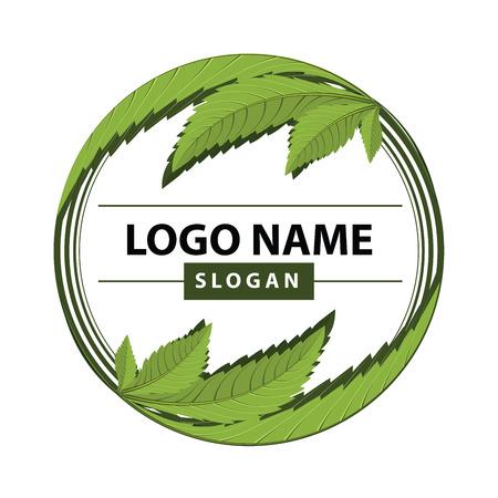 医学のマリファナ、大麻の緑の葉のロゴ。ベクトル イラスト。