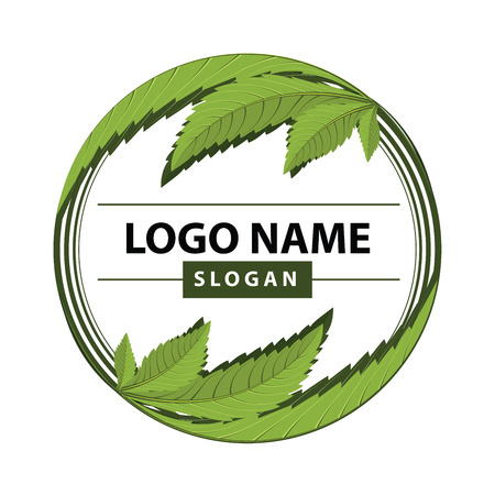 medical marijuana, cannabis green leaf logo. vector illustration. Stock Illustratie