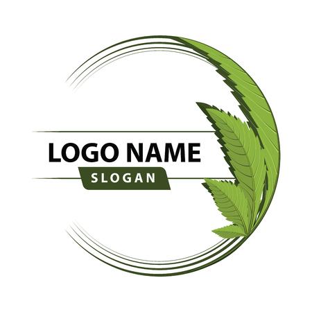 medical marijuana, cannabis green leaf logo. vector illustration. Vettoriali