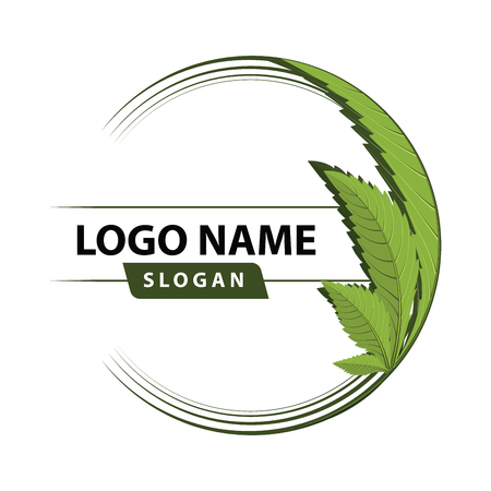 medical marijuana, cannabis green leaf logo. vector illustration. Çizim