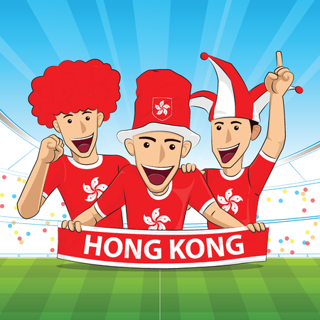 hong kong Flag. Cheer football support Vector illustration. Vettoriali