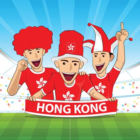 Hong Kong Vlag. Cheer voetbal ondersteuning Vector illustratie.