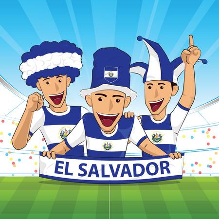 bandera de el salvador: El salvador fútbol apoyo ilustración vectorial.