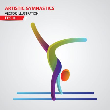 fitness equipment: Artistic Gymnastics color sport icon design Template. Sport Vector Illustration