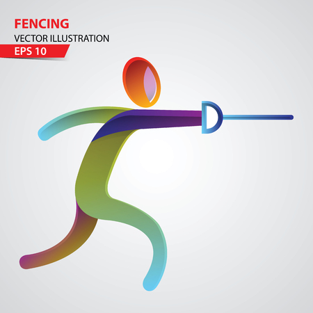 Fencing color sport icon design Template. Vector Illustration.