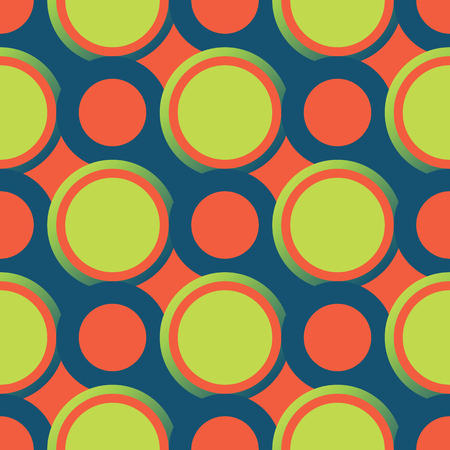 Retro seamless pattern with circles. Colorful vector background. Stock Illustratie