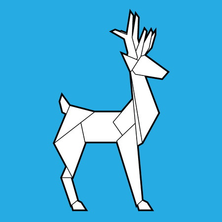 Deer polygonal geometric icon card with on blue background. posters, cards, gift design. Vector Illustration
