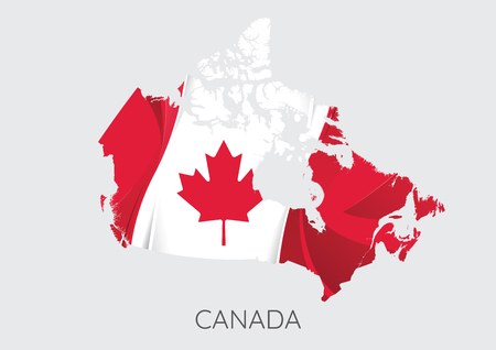 Map Of Canada With Flag As Texture Illustration