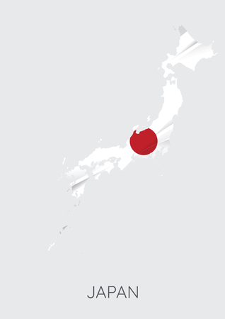 Map Of Japan With Flag As Texture Illustration