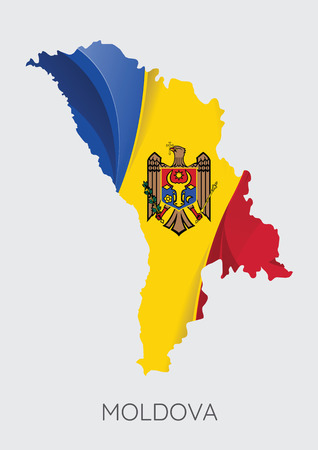 Map Of Moldova With Flag As Texture Isolated On Grey Background. Vector Illustration