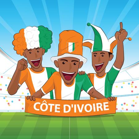 Ivoorkust vlag. Juich voetbalsteun Vectorillustratie toe.