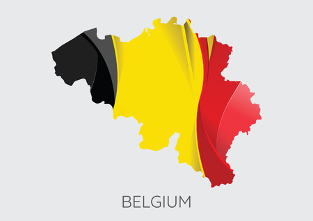 Map of Belgium with flag as texture isolated on grey background.