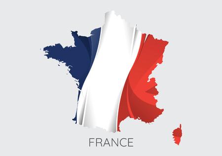 Kaart van Frankrijk met vlag als textuur die op grijze achtergrond wordt geïsoleerd. Vector Illustratie