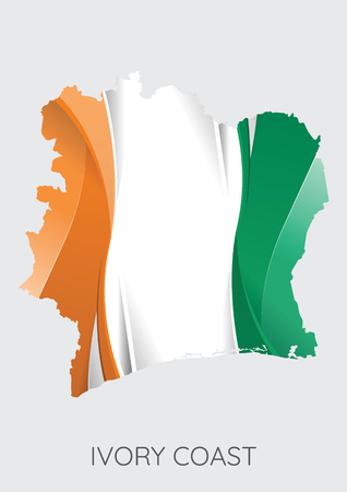 Map of Ivory Coast with flag as texture isolated on grey background.