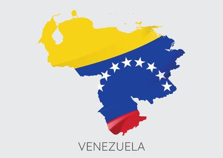 bandera de venezuela: Mapa de Venezuela con la bandera como textura aislada sobre fondo gris. Vectores