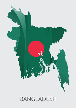 Map Of Bangladesh With Flag As Texture Isolated On Grey Background. Vector Illustration Ilustração